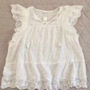 Gap Boho Crochet White Flutter Sleeve Top Sz L